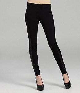 Black Leggings with Leather Stripe
