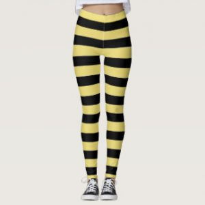Black and Yellow Striped Leggings