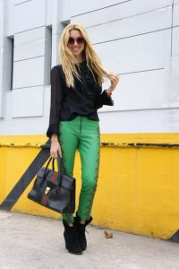 Green Leather Leggings Pictures
